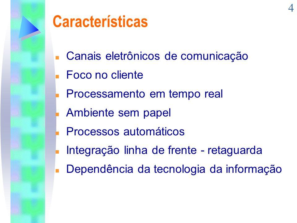 Características Canais eletrônicos de comunicação Foco no cliente