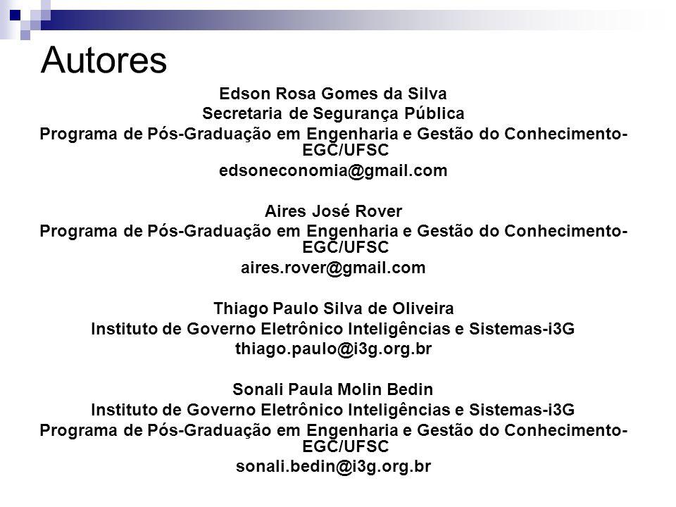 Autores Edson Rosa Gomes da Silva Secretaria de Segurança Pública