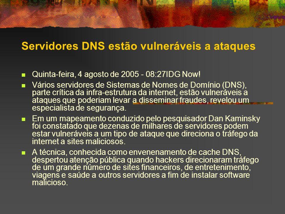 Servidores DNS estão vulneráveis a ataques