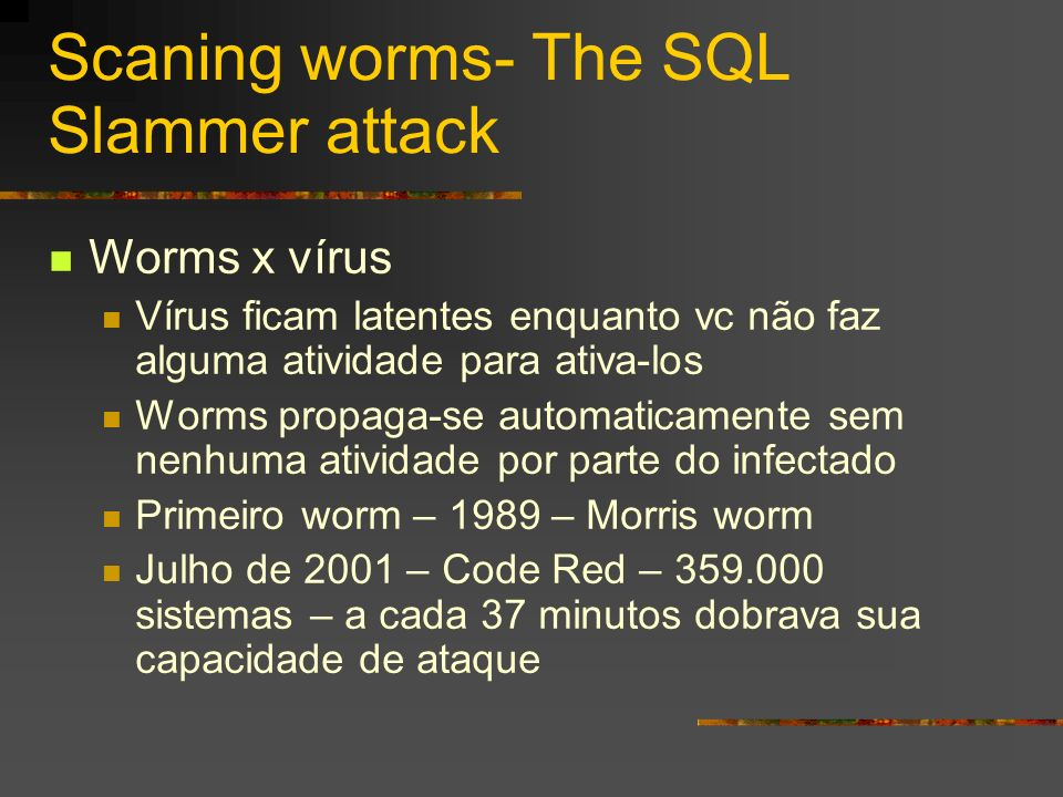 Scaning worms- The SQL Slammer attack