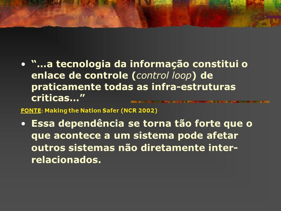 …a tecnologia da informação constitui o enlace de controle (control loop) de praticamente todas as infra-estruturas criticas…