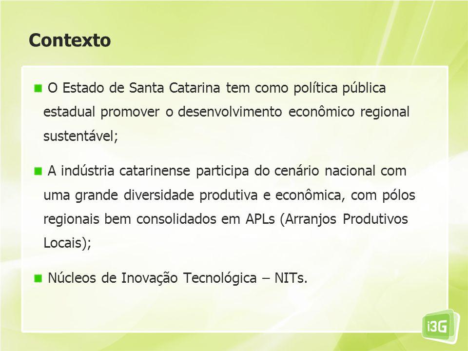 Contexto O Estado de Santa Catarina tem como política pública estadual promover o desenvolvimento econômico regional sustentável;