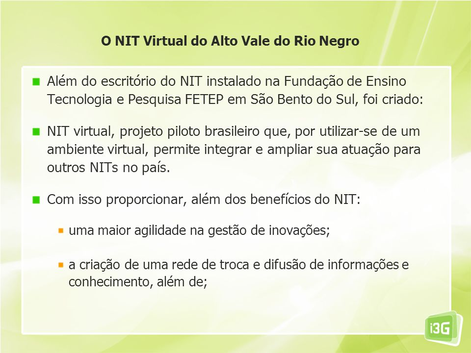 O NIT Virtual do Alto Vale do Rio Negro