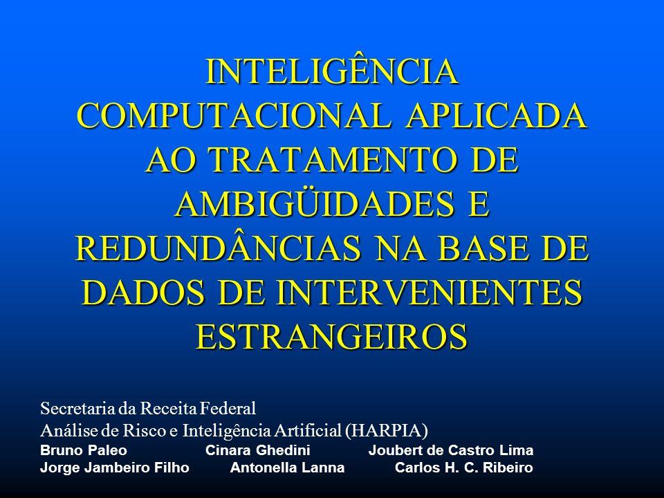 INTELIGÊNCIA COMPUTACIONAL APLICADA AO TRATAMENTO DE AMBIGÜIDADES E REDUNDÂNCIAS NA BASE DE DADOS DE INTERVENIENTES ESTRANGEIROS