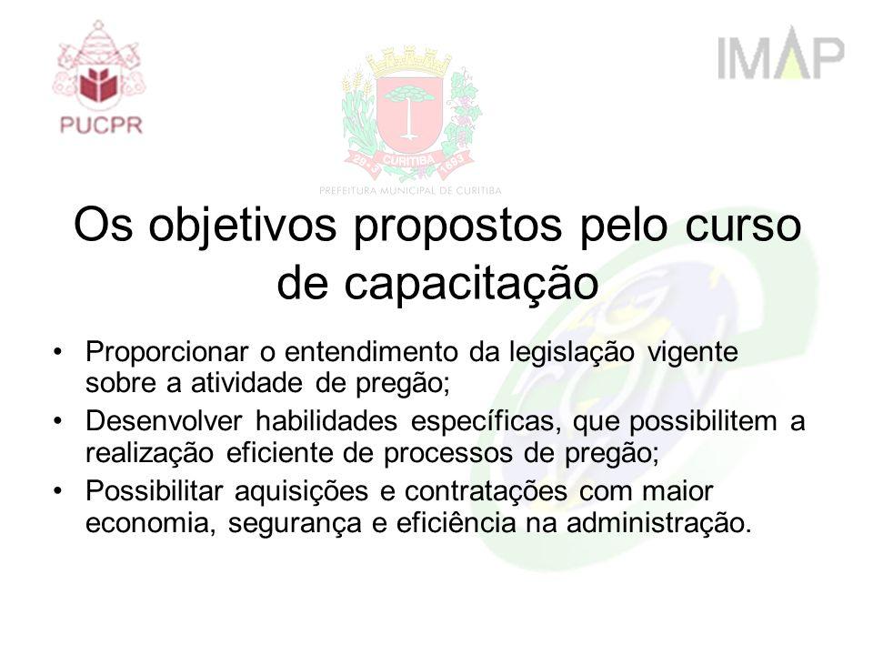 Os objetivos propostos pelo curso de capacitação