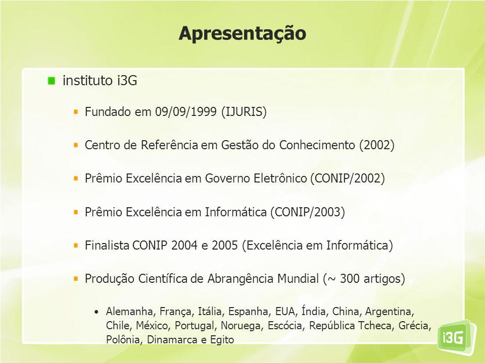 Apresentação instituto i3G Fundado em 09/09/1999 (IJURIS)