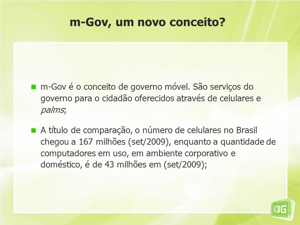 m-Gov, um novo conceito m-Gov é o conceito de governo móvel. São serviços do governo para o cidadão oferecidos através de celulares e palms;