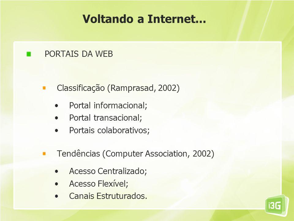Voltando a Internet... PORTAIS DA WEB Classificação (Ramprasad, 2002)