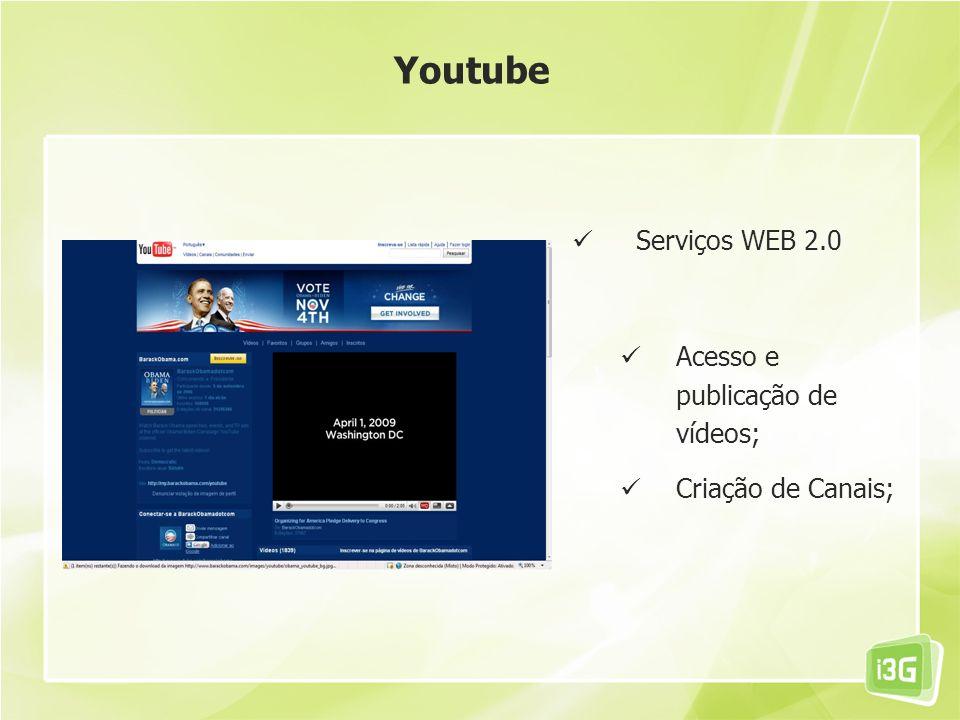 Youtube Serviços WEB 2.0 Acesso e publicação de vídeos;