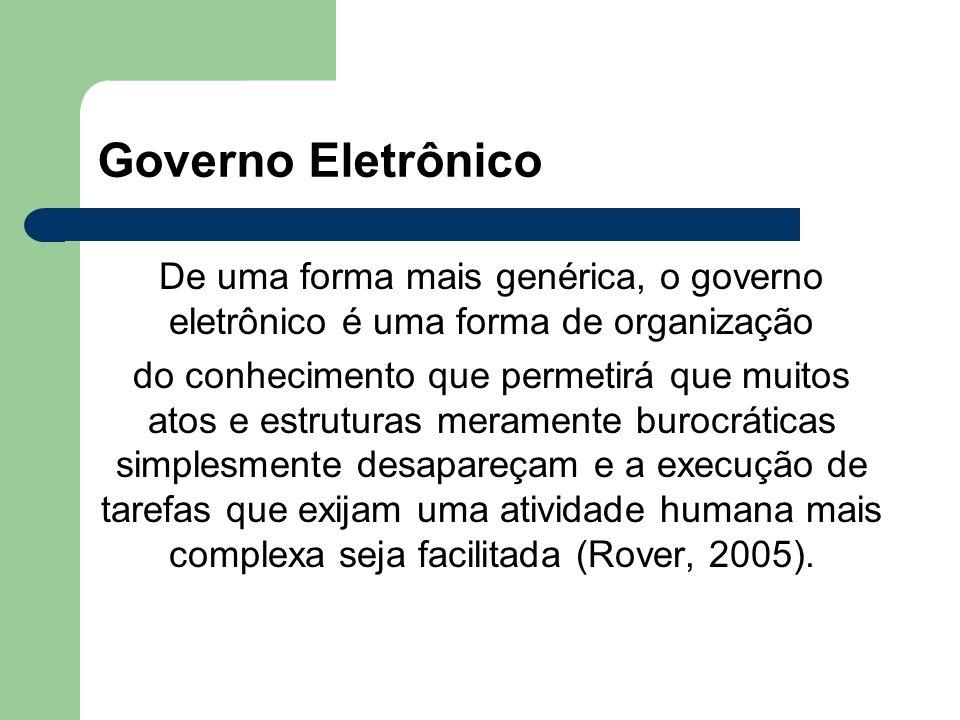 Governo Eletrônico De uma forma mais genérica, o governo eletrônico é uma forma de organização.
