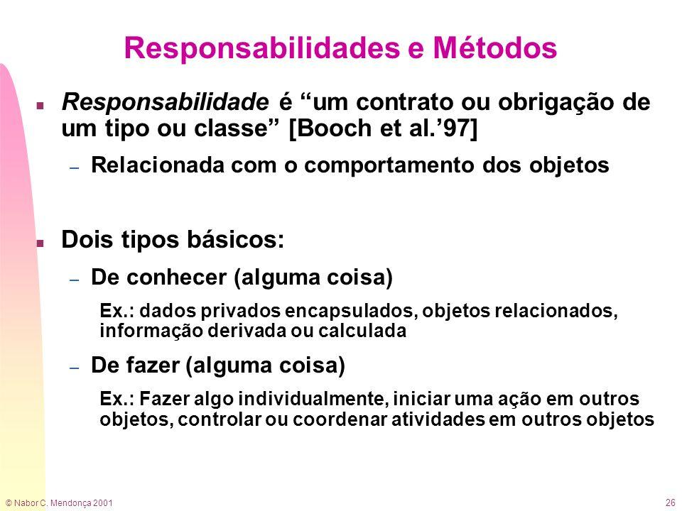 Responsabilidades e Métodos