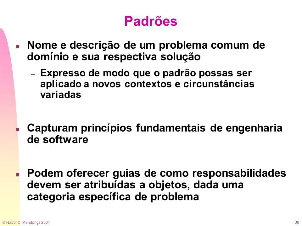 Padrões Nome e descrição de um problema comum de domínio e sua respectiva solução.