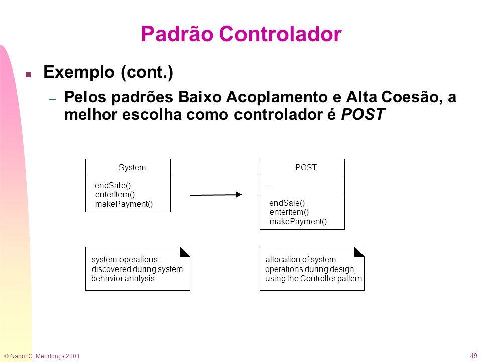 Padrão Controlador Exemplo (cont.)