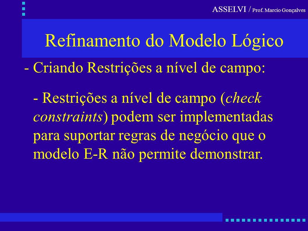 Refinamento do Modelo Lógico