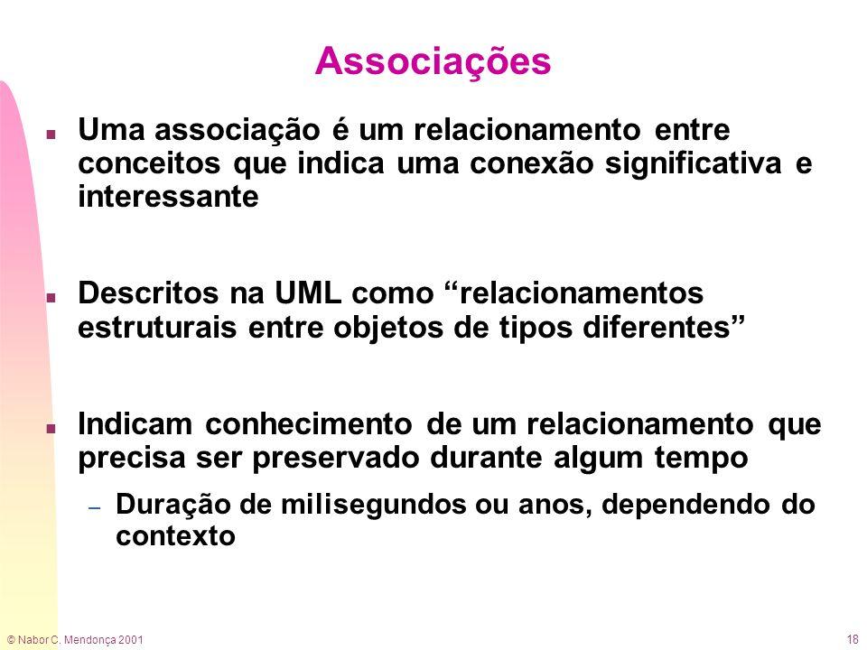 Associações Uma associação é um relacionamento entre conceitos que indica uma conexão significativa e interessante.