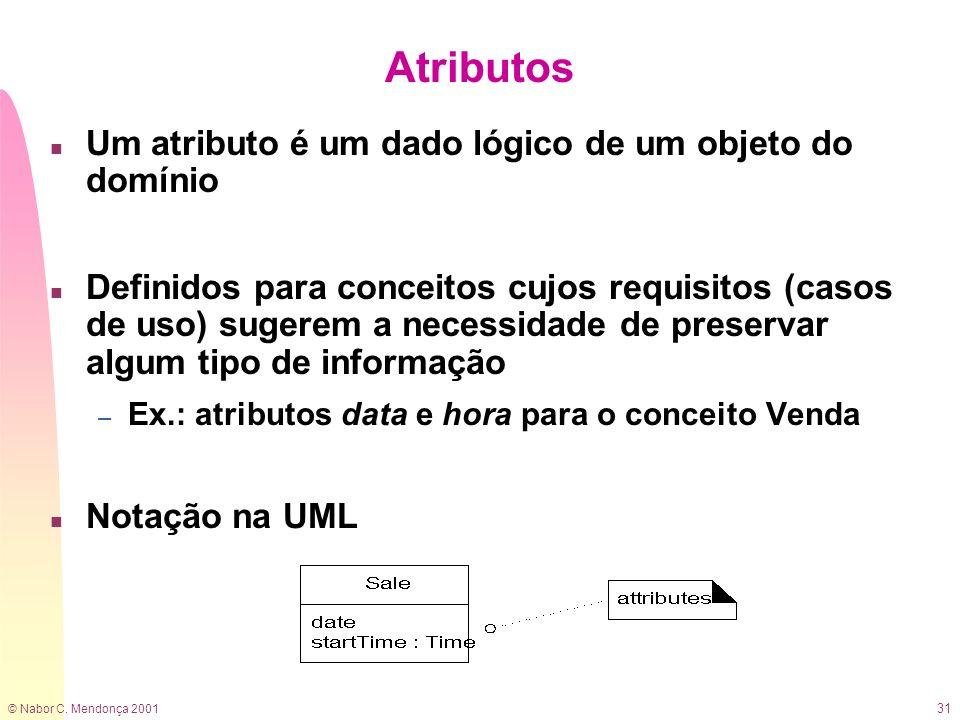 Atributos Um atributo é um dado lógico de um objeto do domínio