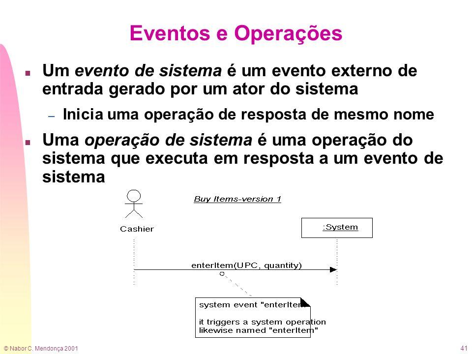 Eventos e Operações Um evento de sistema é um evento externo de entrada gerado por um ator do sistema.