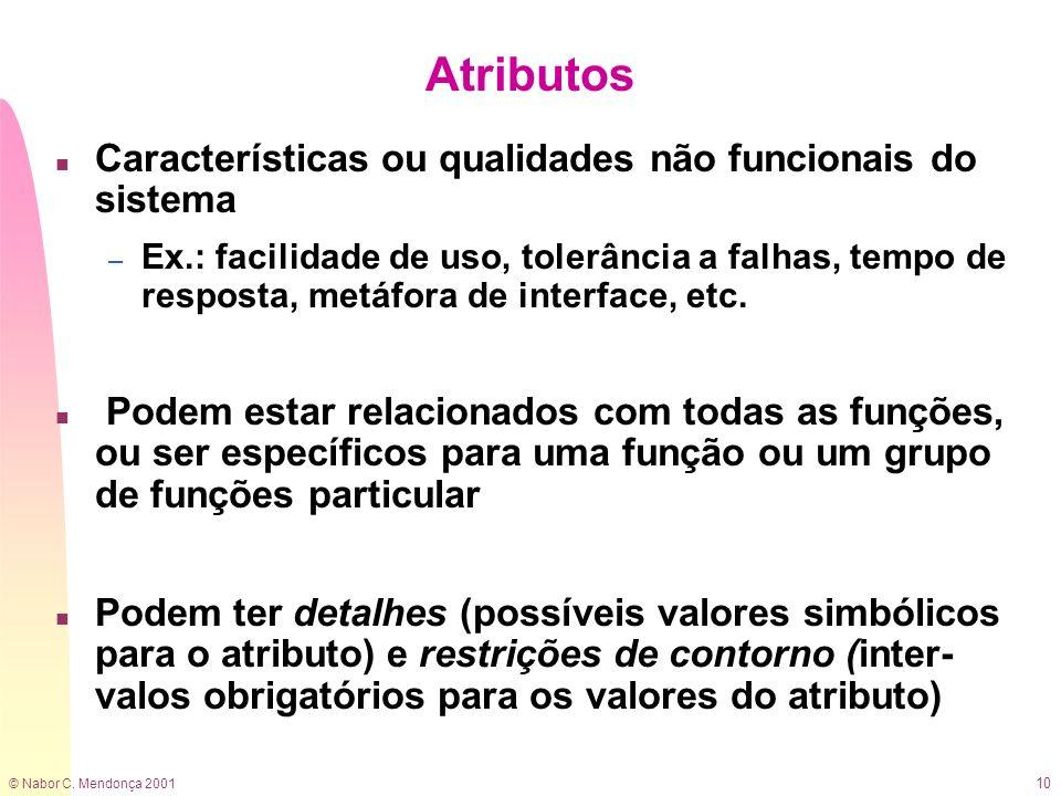 Atributos Características ou qualidades não funcionais do sistema