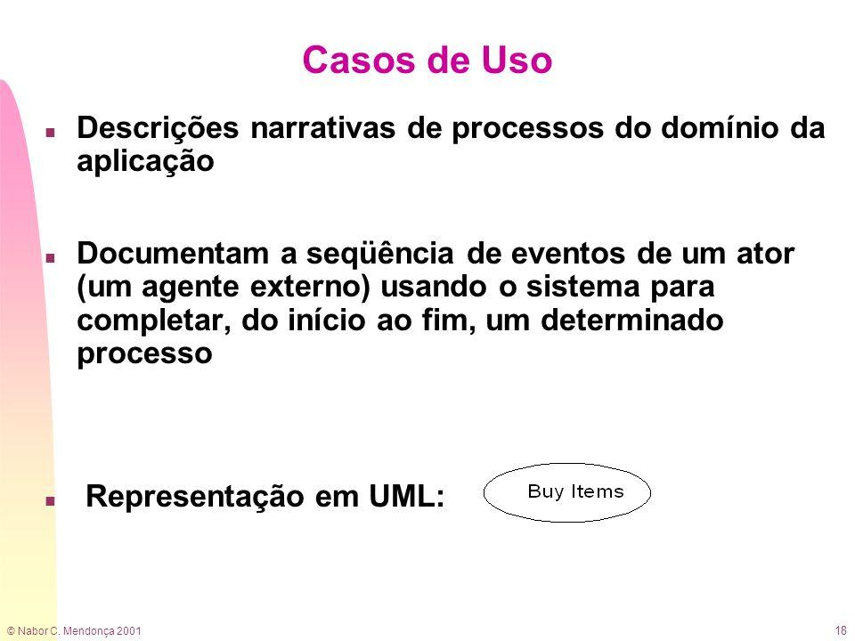 Casos de Uso Descrições narrativas de processos do domínio da aplicação.
