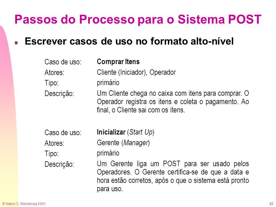 Passos do Processo para o Sistema POST