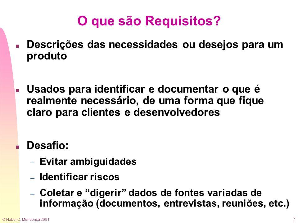 O que são Requisitos Descrições das necessidades ou desejos para um produto.