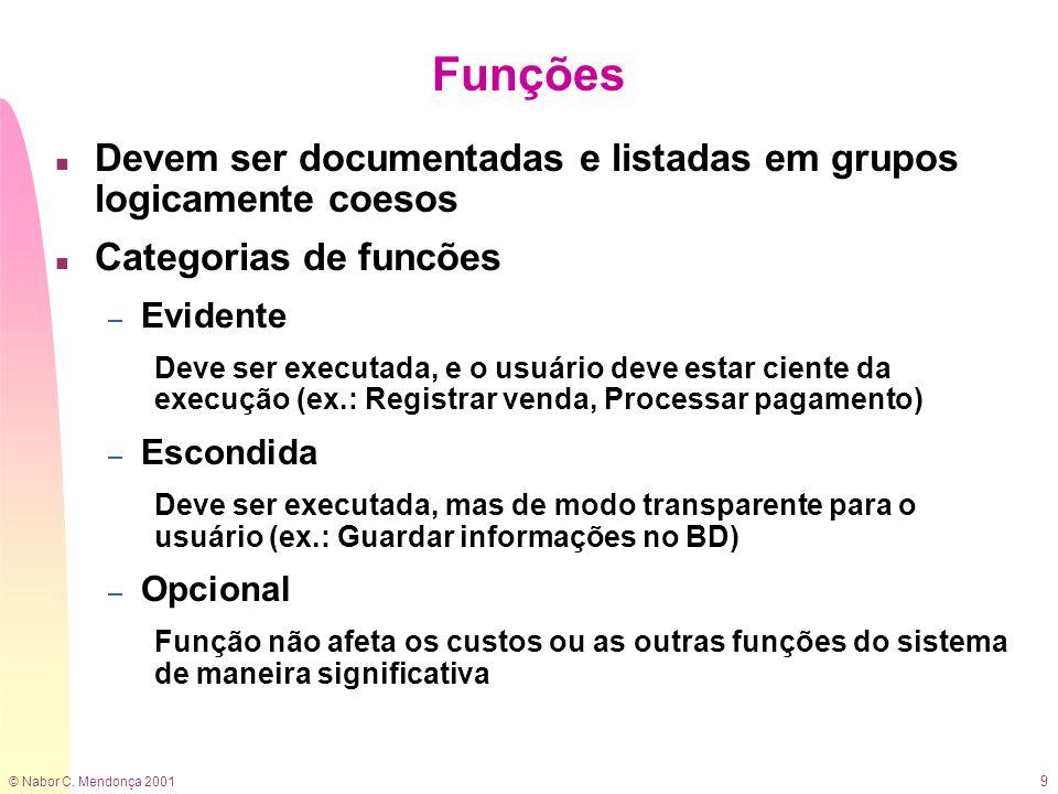 Funções Devem ser documentadas e listadas em grupos logicamente coesos