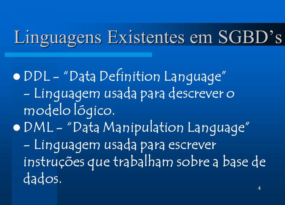 Linguagens Existentes em SGBD's