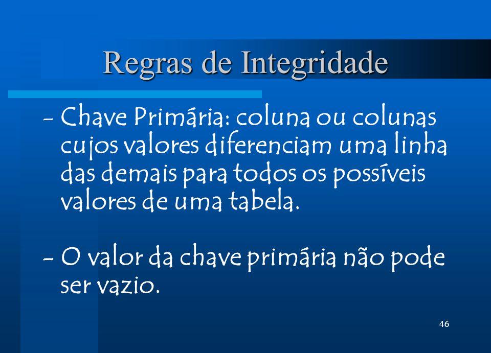 Regras de Integridade Chave Primária: coluna ou colunas cujos valores diferenciam uma linha das demais para todos os possíveis valores de uma tabela.