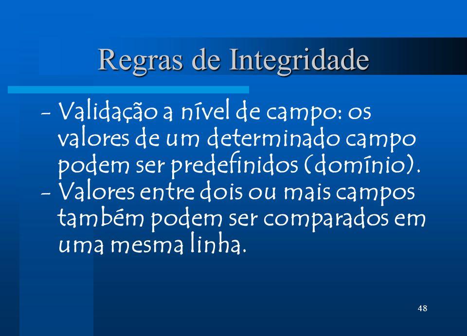 Regras de Integridade Validação a nível de campo: os valores de um determinado campo podem ser predefinidos (domínio).