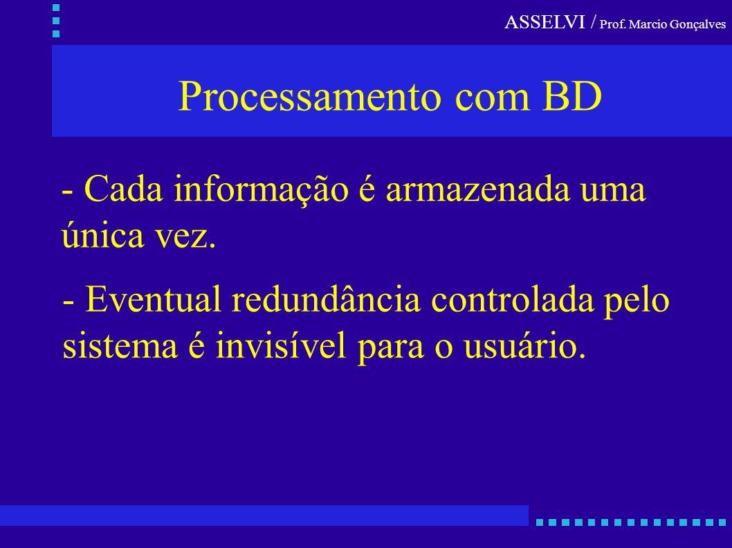 Processamento com BD - Cada informação é armazenada uma única vez.