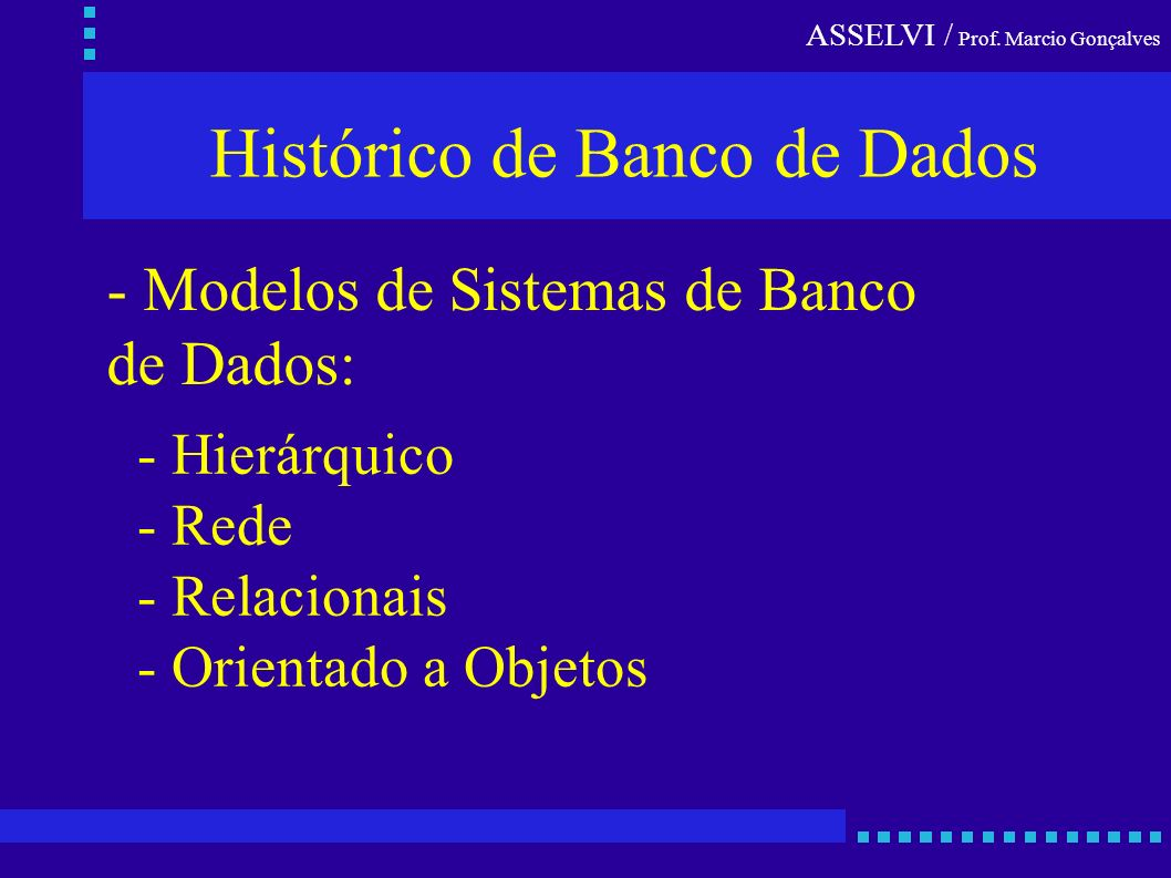 Histórico de Banco de Dados