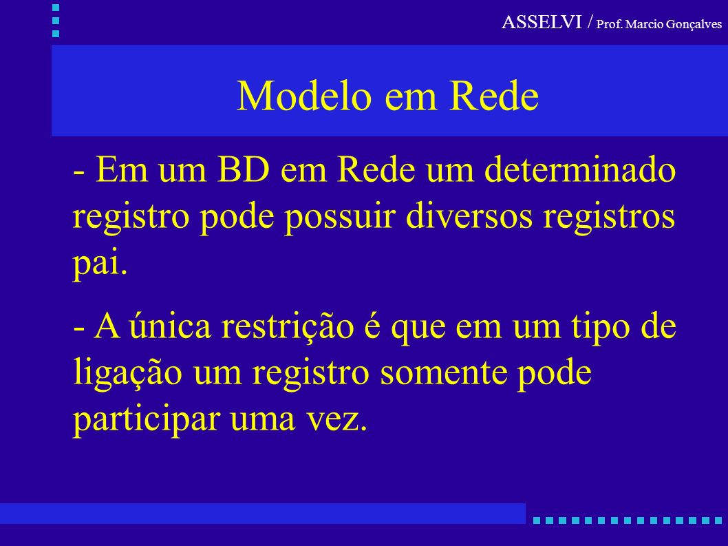 Modelo em Rede - Em um BD em Rede um determinado