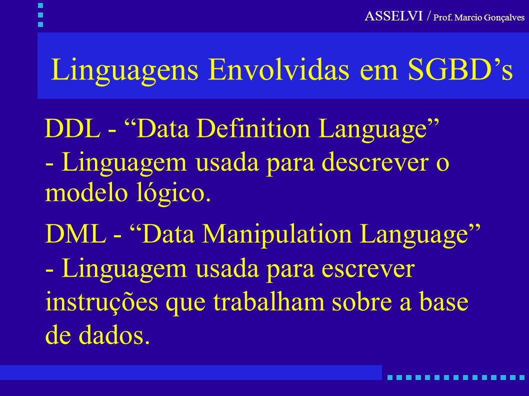 Linguagens Envolvidas em SGBD's