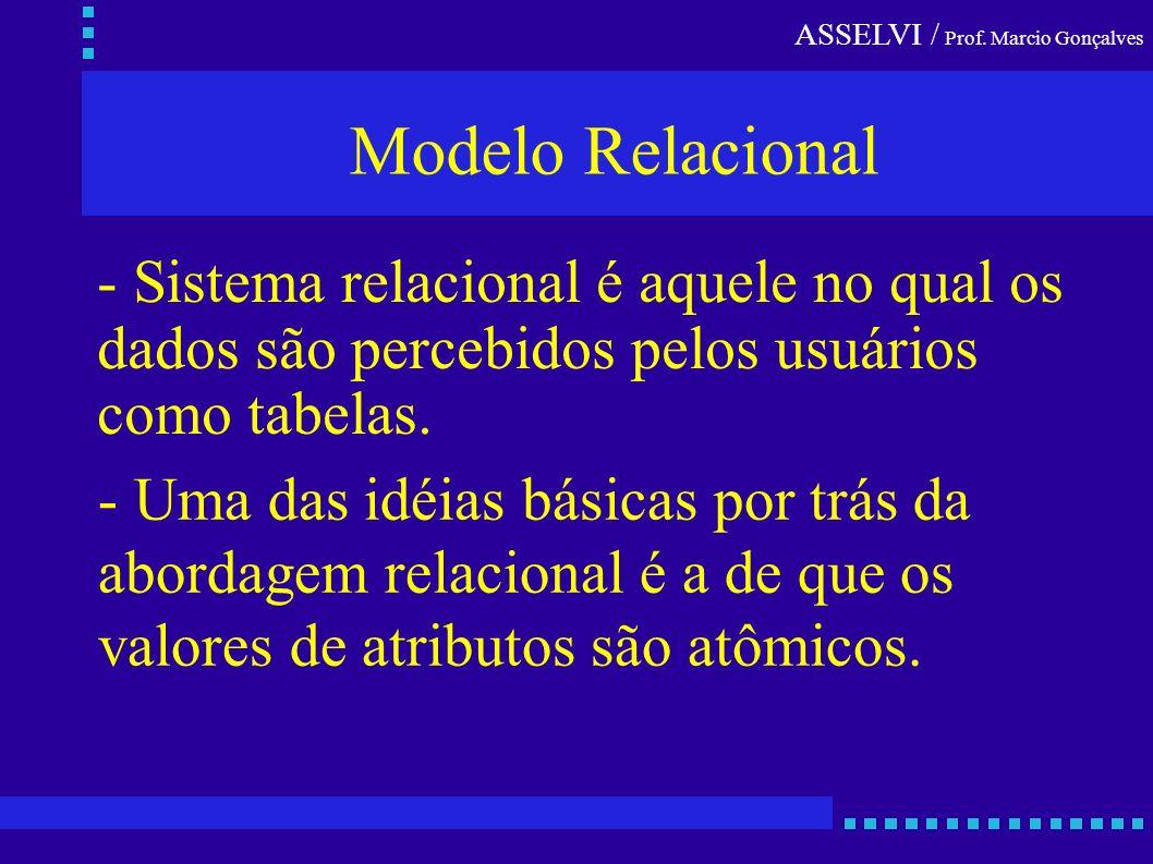 Modelo Relacional - Sistema relacional é aquele no qual os
