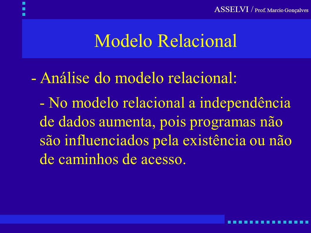 Modelo Relacional - Análise do modelo relacional: