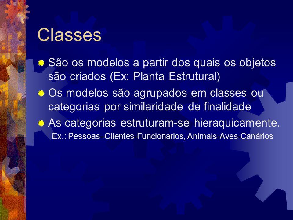 Classes São os modelos a partir dos quais os objetos são criados (Ex: Planta Estrutural)