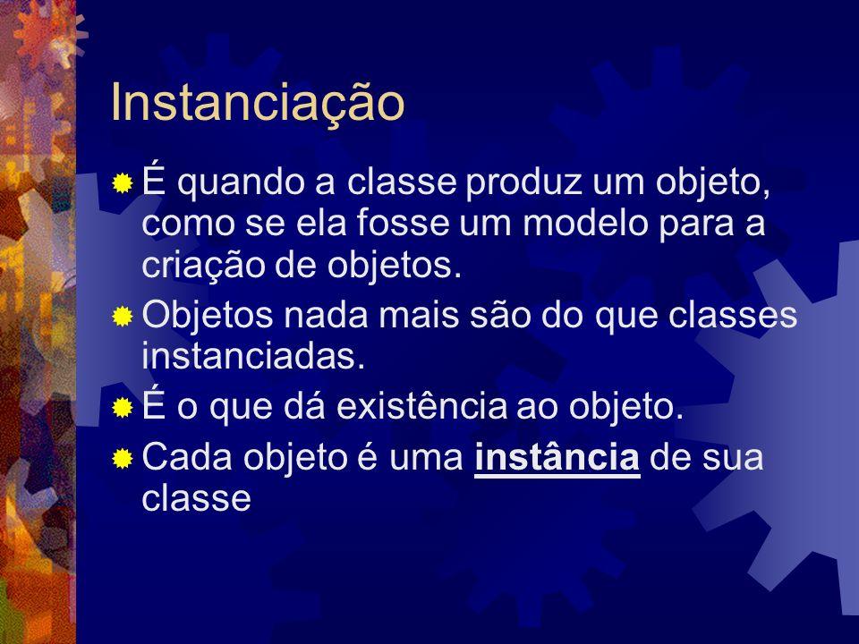 Instanciação É quando a classe produz um objeto, como se ela fosse um modelo para a criação de objetos.