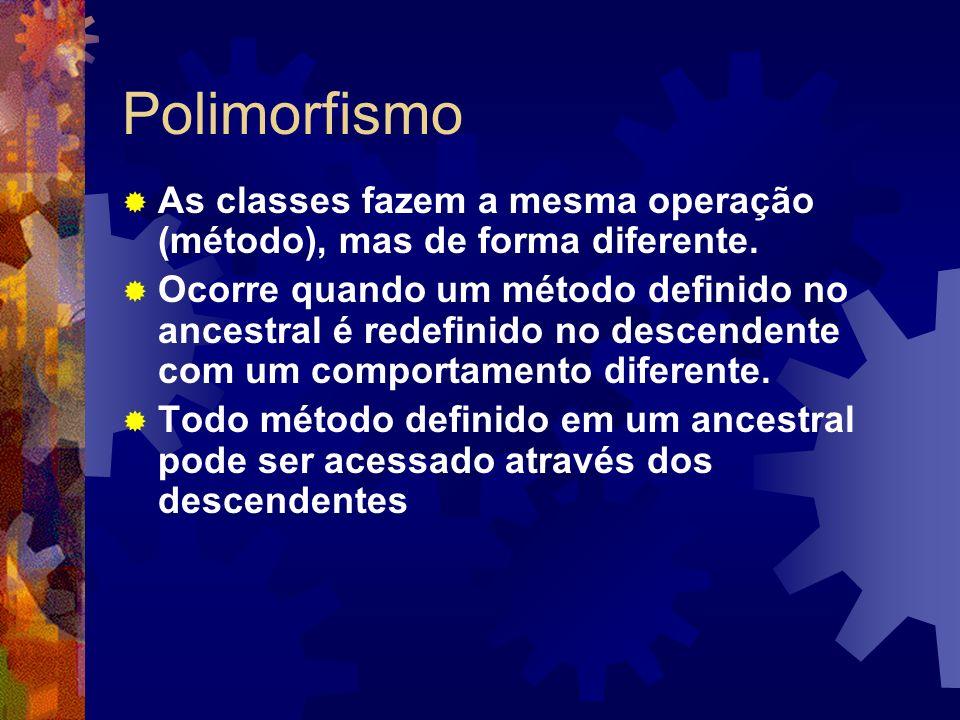 PolimorfismoAs classes fazem a mesma operação (método), mas de forma diferente.