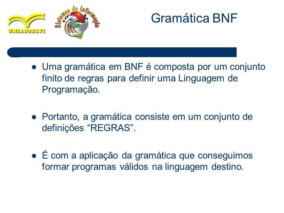 Gramática BNF Uma gramática em BNF é composta por um conjunto finito de regras para definir uma Linguagem de Programação.
