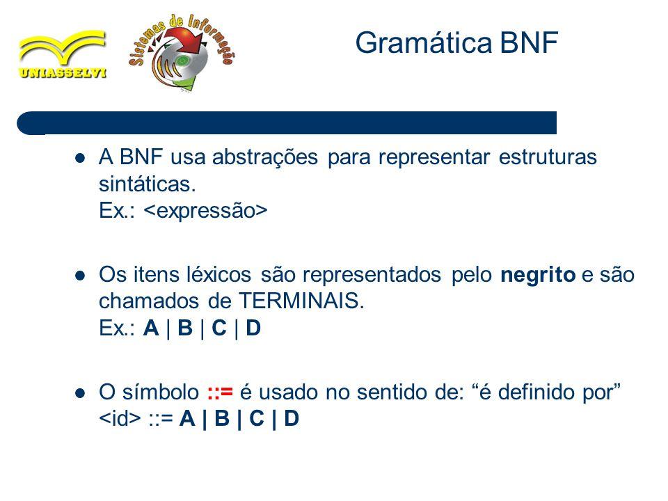 Gramática BNF A BNF usa abstrações para representar estruturas sintáticas. Ex.: <expressão>