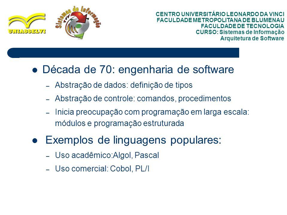 Década de 70: engenharia de software
