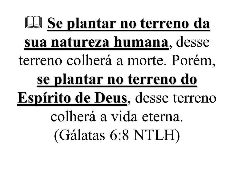  Se plantar no terreno da sua natureza humana, desse terreno colherá a morte.