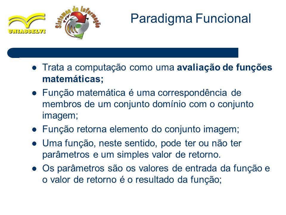 Paradigma Funcional Trata a computação como uma avaliação de funções matemáticas;