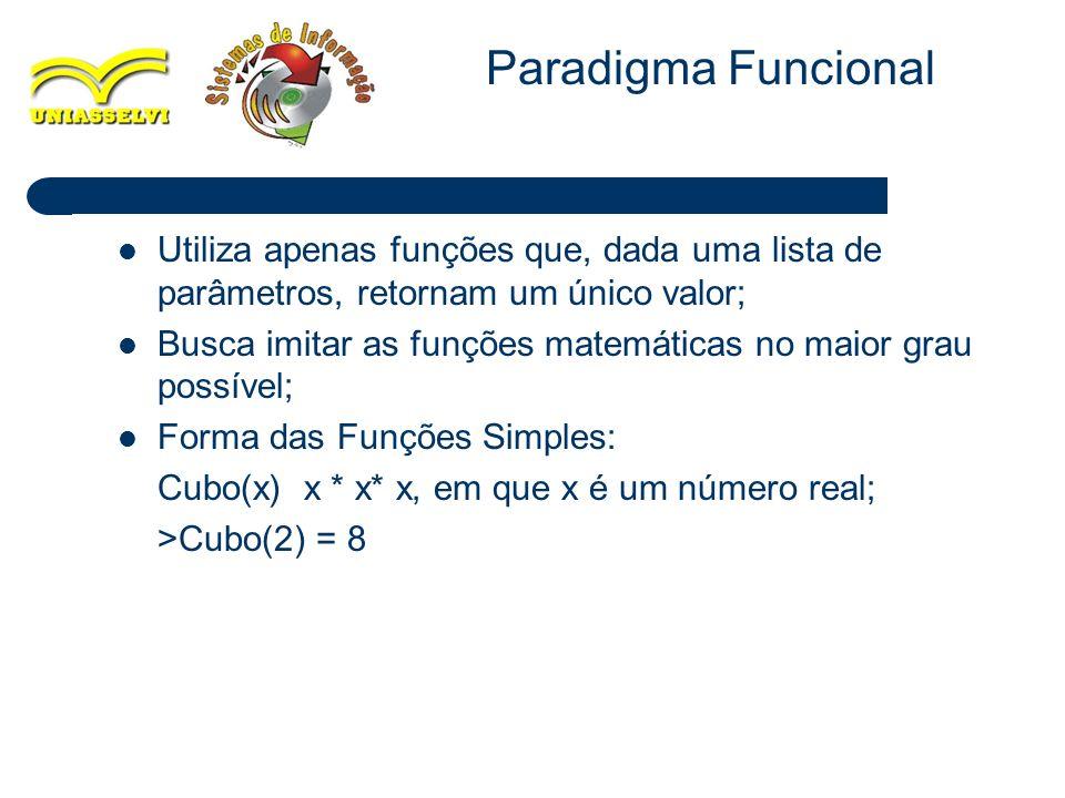Paradigma Funcional Utiliza apenas funções que, dada uma lista de parâmetros, retornam um único valor;