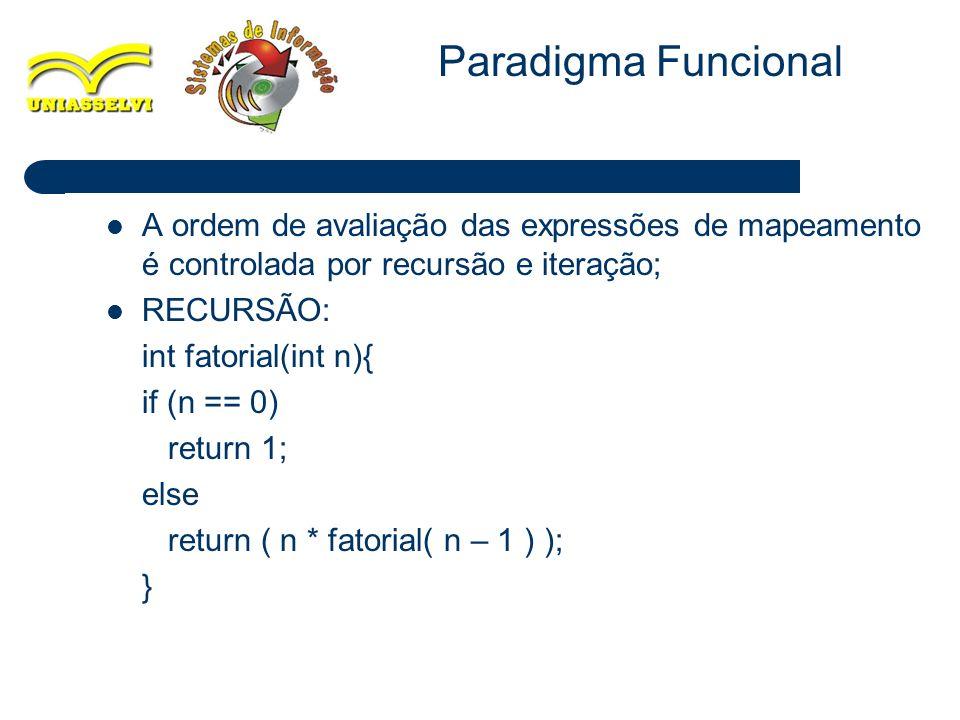 Paradigma Funcional A ordem de avaliação das expressões de mapeamento é controlada por recursão e iteração;