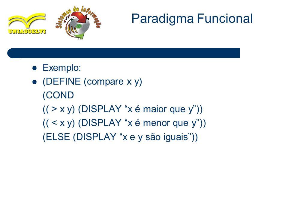 Paradigma Funcional Exemplo: (DEFINE (compare x y) (COND