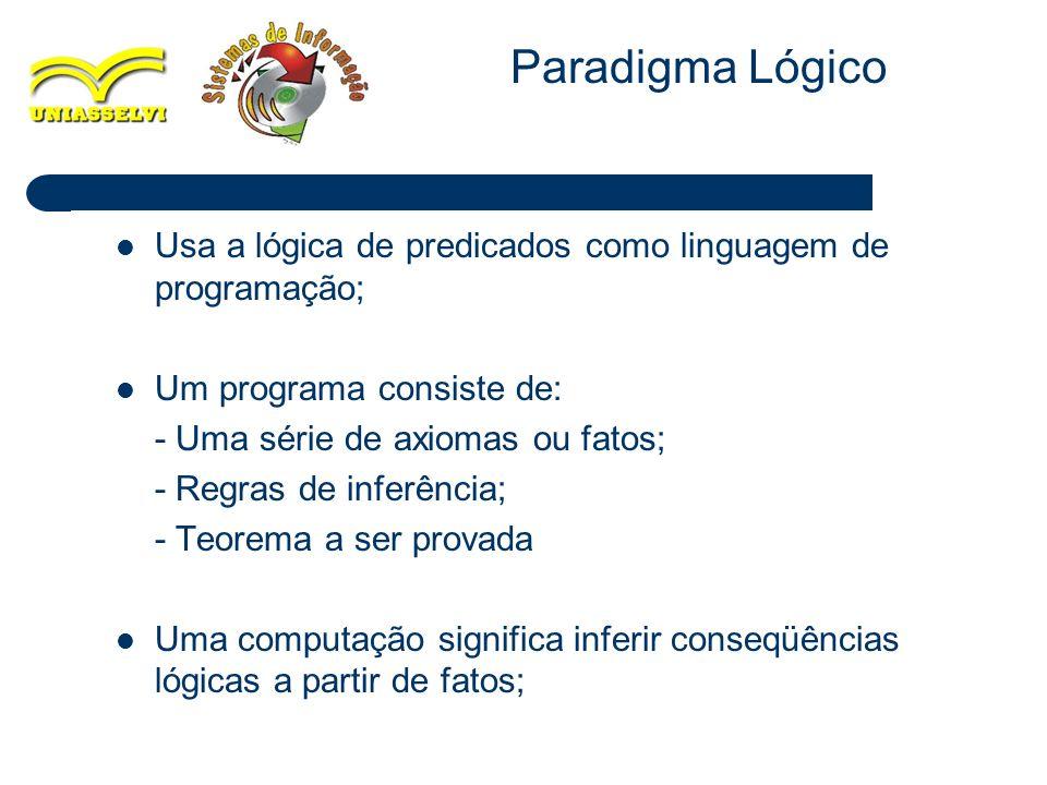Paradigma Lógico Usa a lógica de predicados como linguagem de programação; Um programa consiste de: