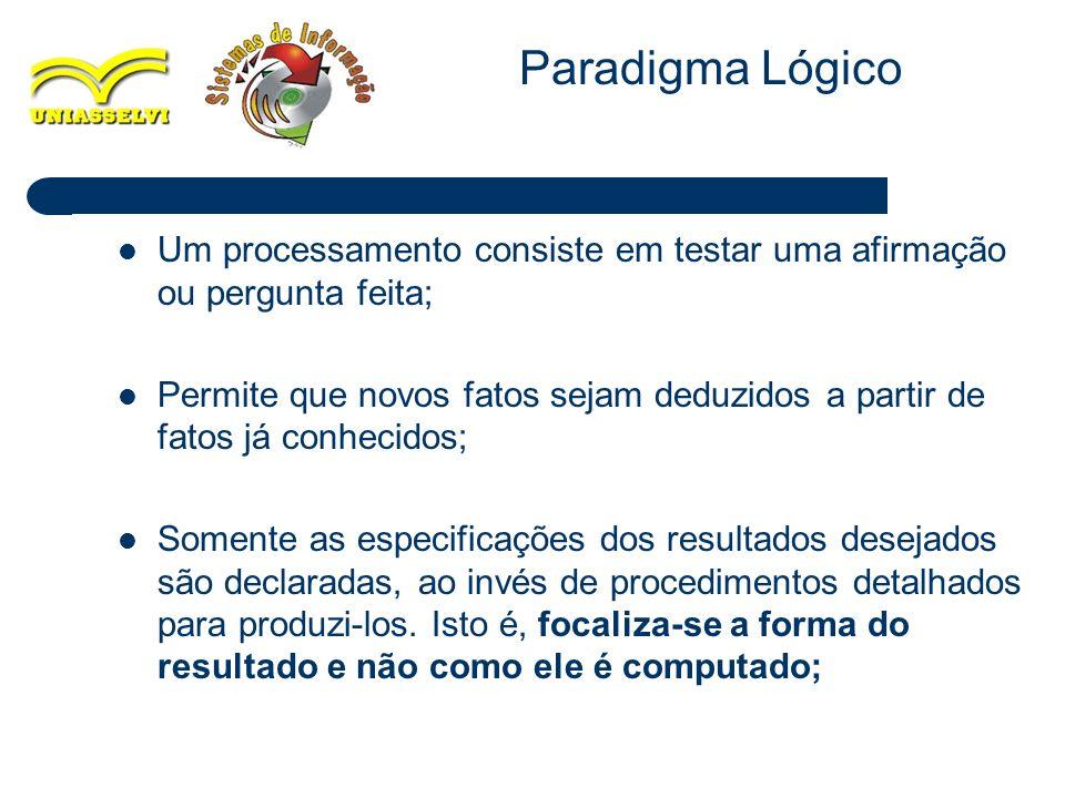 Paradigma Lógico Um processamento consiste em testar uma afirmação ou pergunta feita;