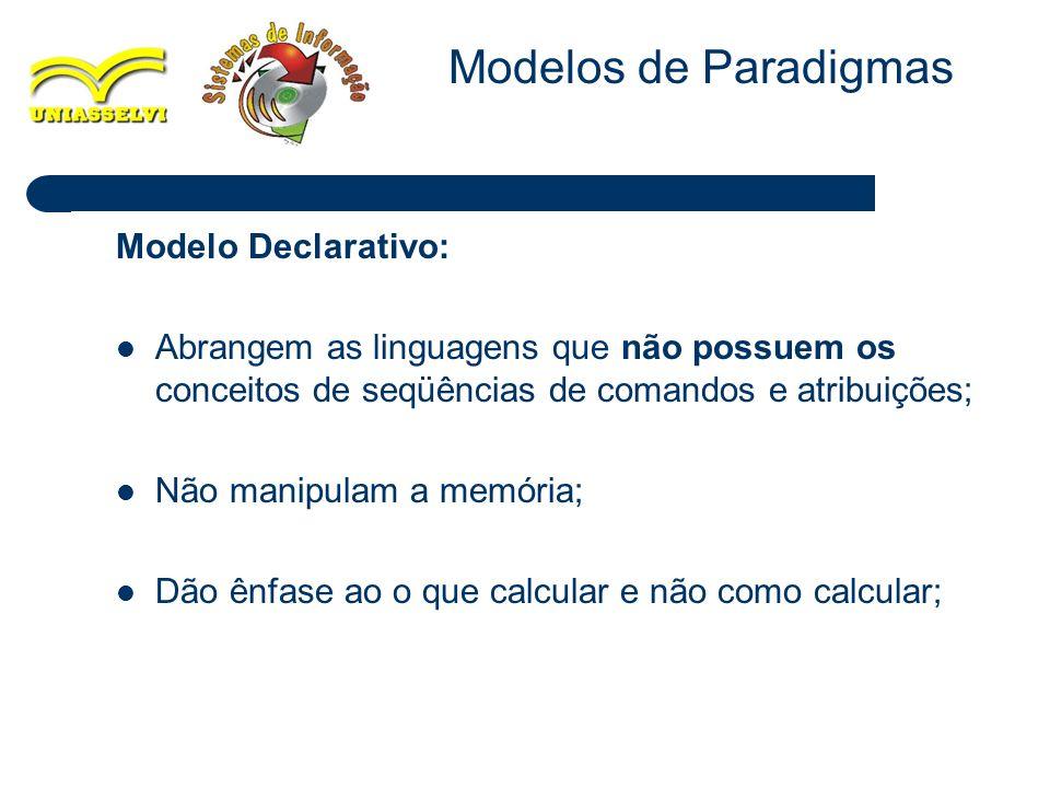 Modelos de Paradigmas Modelo Declarativo:
