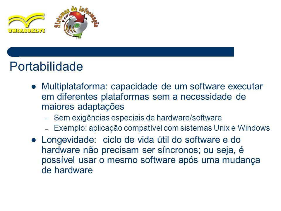 Portabilidade Multiplataforma: capacidade de um software executar em diferentes plataformas sem a necessidade de maiores adaptações.